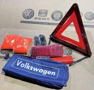 VW Golf MK3 MK4 MK5 MK6 MK7 MK8 ID Scirocco MK3 Volkswagen Safety Kit Warning Triangle First Aid Vests Genuine New OEM VW Votex Parts