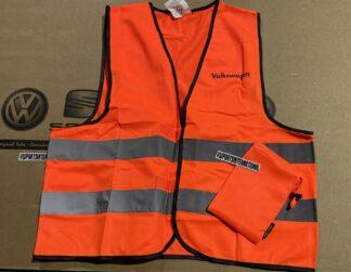 VW Golf MK3 MK4 MK5 MK6 MK7 MK8 ID Scirocco MK3 Orange Safety Vest with Volkswagen lettering Genuine New OEM VW Votex Part