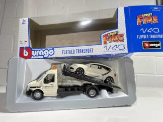 VW Polo GTI and Transporter Flatbed Recovery Truck Lorry Street Fire 1 43 Scale Model Car Toy Childs Kids Dads Enthusiasts Collectors Item Gift