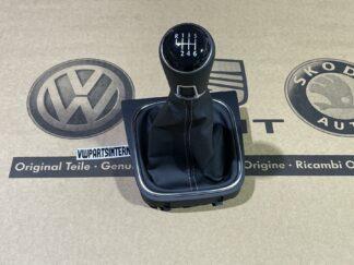 VW Scirocco MK3 6 Speed Gear Knob Shift Stick Black Leather Stick Art Grey Stitched New Genuine OEM VW Part