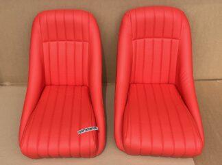 Retro Oldtimer Classic Car Sports Seats Montgomery Faux Orange Leather FKRSE011087 - orange
