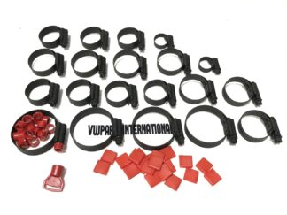 VW Golf MK3 2.0 16v GTI Coolant Hose Clips Clamps Full Set Stealth Black + Red Collar Trim & Thumb turn New Mikalor Parts