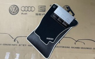 Audi A4 A5 RS5 Front Floor Carpet Foot Mats Black Alabastor White Piped Genuine New NOS OEM Part RHD