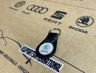 Genuine Skoda Leather Keyring Key Fob Octavia Yeti Fabia Rapid Roomster vRS Felicia Citigo Original OEM Accessory Gift